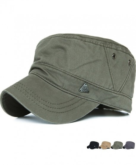 REDSHARKS Cadet Caps Military Hats Fit For Unisex Adult Triangle Logo Vented Eyelets - Green - CT12GTTO4P9