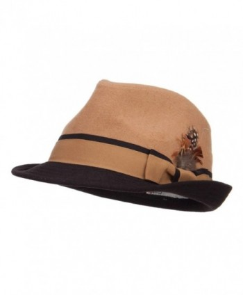Two Tone Fedora with Feather - Camel - CG126E0QCPX