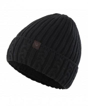 Home Prefer Men's Winter Hat Warm Knitted Hat Cuff Beanie Watch Cap With Lining - Black - CU186GXN7GX