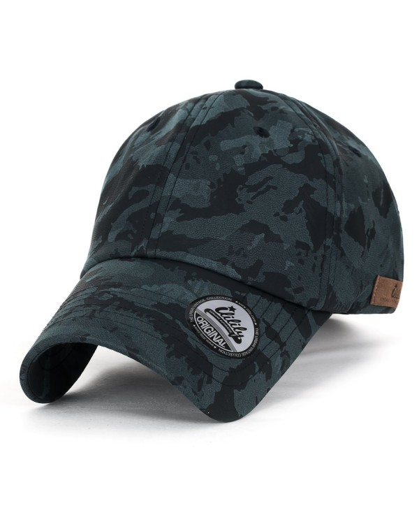ililily Camouflage Soft Matt Faux Leather Vintage Velcro Strapback Baseball Cap - Blue Green - CO1820M35SZ