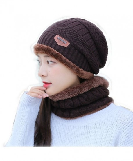 Slouchy Beanie Hat Women Lined Thick Knitting Wool Skull Cap With Neck Gaiter - Brown - CY189C0RMOK