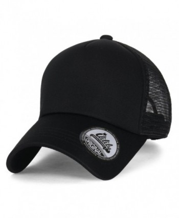 ililily Plain Baseball Cap Simple Mesh Snapback Color Trucker Hat - All Black - CU12JU4PDHD