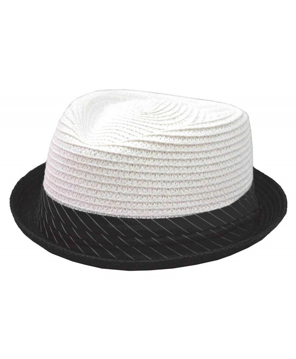 K Braided Toyo Upturn Fedora White Black Stripes Band - C817YL8KUAZ