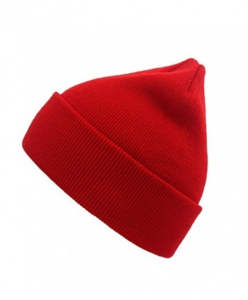 NINE BULL Unisex Winter Warm Knitting Hats Daily Slouchy Beanie Hat Skull Cap - Red - CB186GSY82W