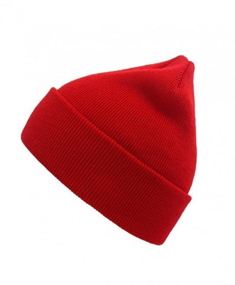 NINE BULL Unisex Winter Warm Knitting Hats Daily Slouchy Beanie Hat Skull  Cap - Red - dec84951b6d