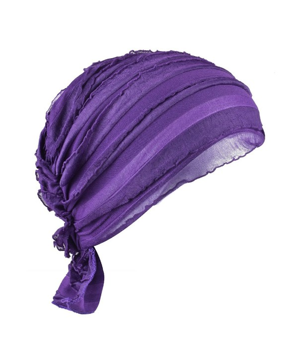 Women Chemo Beanie Scarf Hat Covering Snood Turban Headwear for Cancer - Purple - CQ1822NCU87