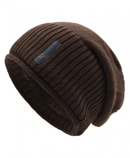 UPhitnis Warm Knit Hat For Men & Women- Soft Long Loose Winter Hat With Hemming and Wool Inner - Brown - CU186OZYC95