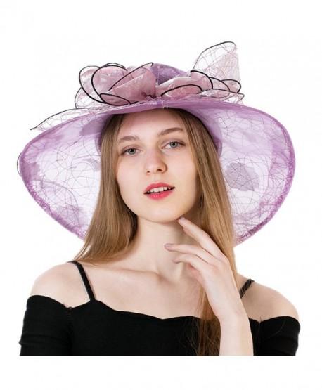 Dantiya Women's Polka Dot Kentucky Derby Hats Church Hat Tea Party Wedding Organza Hats - Purple - C417Z72YRXO