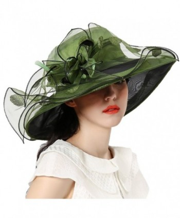 June's Young Women Race Hats Organza Hat with Ruffles Feathers - Blackish Green Polka Dot - C612EWLUUH7