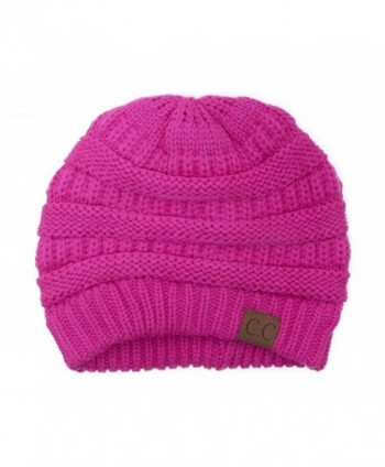 Black Thick Slouchy Knit Oversized Beanie Cap Hat-One Size-Hot Pink - CB11PKPW7WV