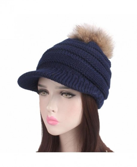 Brim Hat Beanie Hat - Binmer(TM) Women Ladies Winter Knitting Hat Berets Turban Brim Hat Cap Pile Cap - Navy - C41889ERO4Q