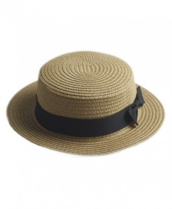 Elee Fashion Women Men Summer Straw Boater Hat Boonie Hats Beach Sunhat Bowler Caps - Khaki - C1182W9NZES