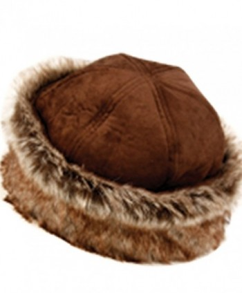 CL2192 Faux Leather With Faux Fur Trimmed Winter Fashion Hat - Browm - CP12O4Q1V2Y