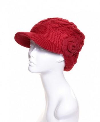 BSB AN Womens Winter Visor Cap Beanie Hat Wool Blend Lined Crochet Decoration - Red Flower - C712O0UP4NP