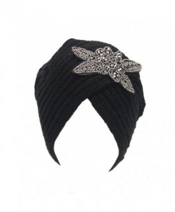 DEESEE Womens Winter Warm Knit Crochet Ski Hat Braided Turban Headdress Cap - Black - CV12NELGFMD