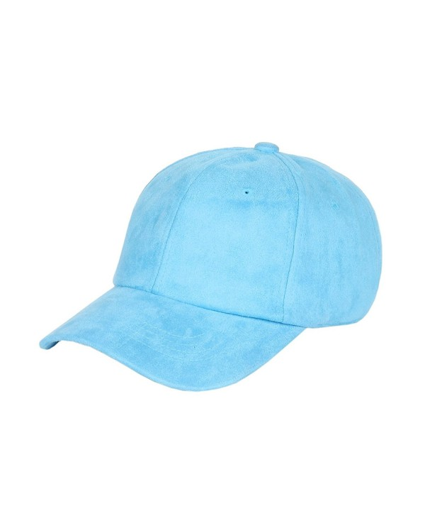 1611MAIN Suede Low Profile Plain Adjustable Strapback Baseball Dad Cap (Light Blue) - C312MZ0FX3C