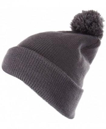 Enimay Winter Pom Pom Knit Beanie Cuffed Skull Cap Striped Team Beanie - Soild | Gray - CD1875ODEED