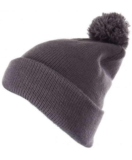 c6b9cdcc662 Enimay Winter Pom Pom Knit Beanie Cuffed Skull Cap Striped Team Beanie -  Soild