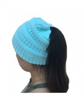 WONBURY Beanie Tail Womens Knit Ponytail Messy Bun Beanie Solid Ribbed Winter Hat Cap - Blue - CL187G0GG0E