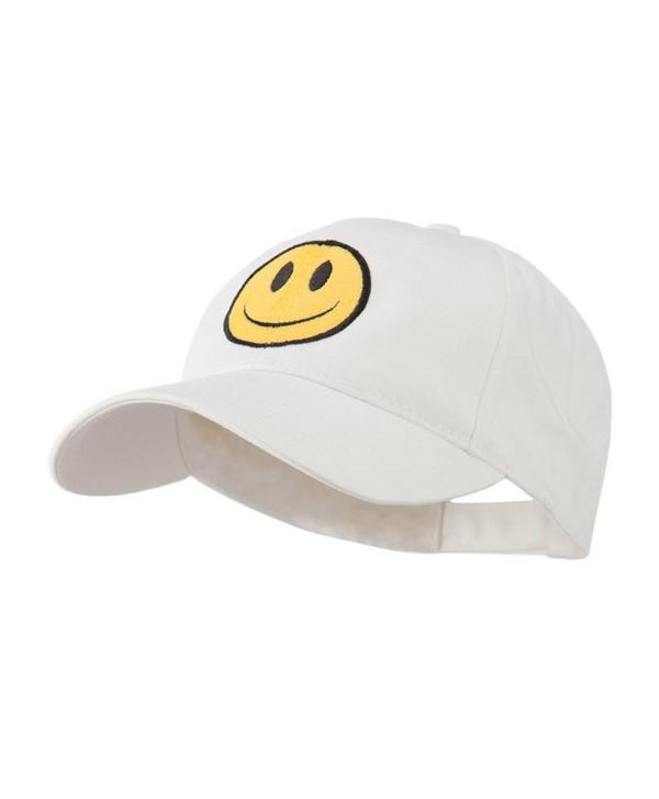 Smiley Face Embroidered Cap - White - C711FX5TWAR