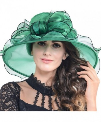 Women Church Derby Kentucky Wide Brim Sun Hat with Large Bow - Green - CW12D5JO1ZT