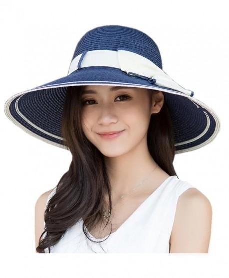734fac2435b6a Women UPF 50+ Summer Hat Wide Brim Beach Sun Straw Visor Hat w/ Bowknot -  Blue - C717Y4XMN9L