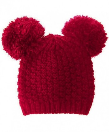 Knit Beanie Hat with 2 Big Pom Pom Ears JM6086 - Burgundy - C812O4NOKHN