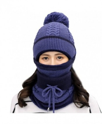 Heurm Alado Winter Beanie Hat Scarf and Mask Set 3 Pieces Thick Warm Knit Cap For Women - F1 - C3188Z0E9ZL