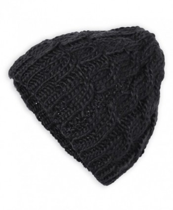 FUNOC Women Winter Knitted Crochet Beanie Hat Cap 10 Colors - Black - CW11SDLVXXD