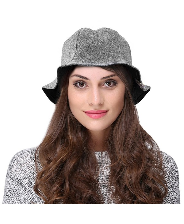 VBIGER Women Winter Hat Warm Woolen Hat Fashion Cute Bucket Hat - Grey - CM1870Z28UW