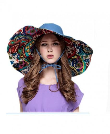 Women Bohemian Style Wide Brim Foldable Uv Protection Sun Cap - Blue - CK11WGWBJ61