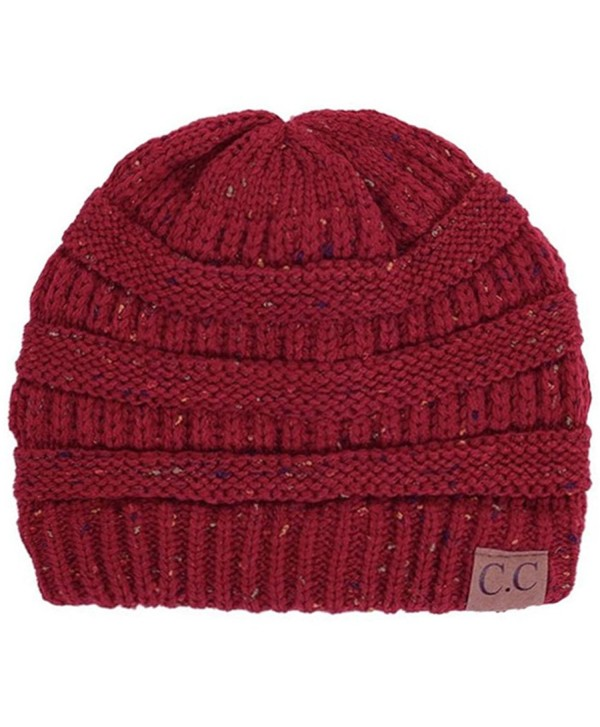 ScarvesMe C.C Beanie Cable Knit Confetti Beanie Thick Soft Warm Winter Hat - Unisex - Burgundy - C612823S0FZ