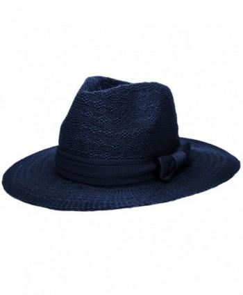 Aerusi Women's Straw Sun Hat Fedora Trilby Panama Jazz Hat With Bow Band - Blue - CK1827SUCZ6