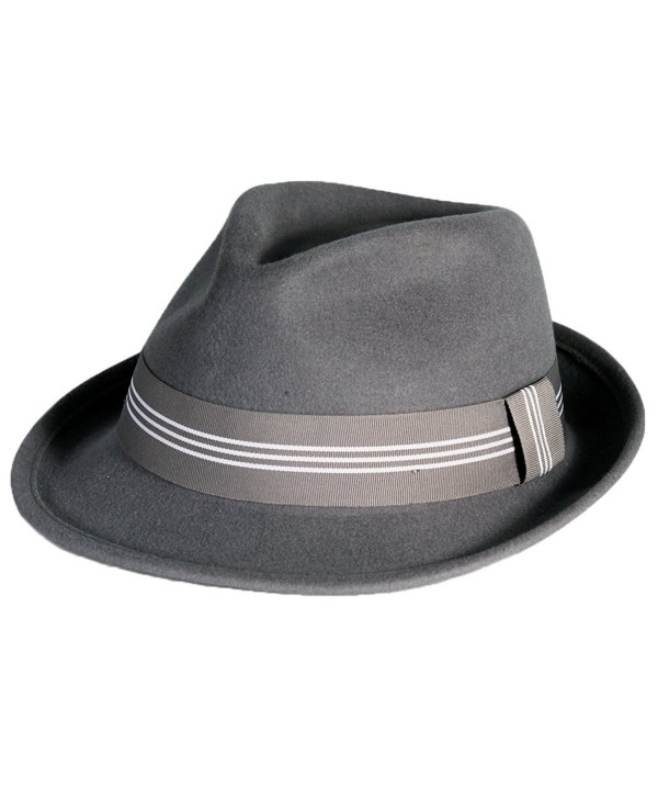 City Hunter Pmw87 Pamoa Wool Felt Fedora with 3 Stripe Trim (3 Colors ) - Dark Grey - CU11G0J6URT