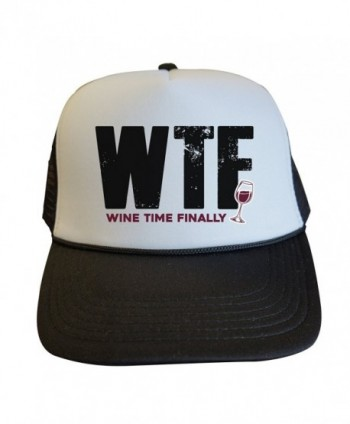 "Womens Party Trucker Hats ""WTF Wine Time Finally - Royaltee Lake Hat Collection - Black - CP186YT3DIS"