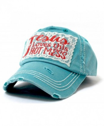 """LACE """"Jesus Loves this HOT MESS"""" Embroidery Patch Vintage Cap - Turquoise - CV185D48XCK"""