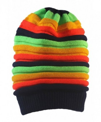 EachWell Women Winter Stripe Rainbow Beanie Skull Hat Slouchy Cap - Color 4 - CB186W36IRU