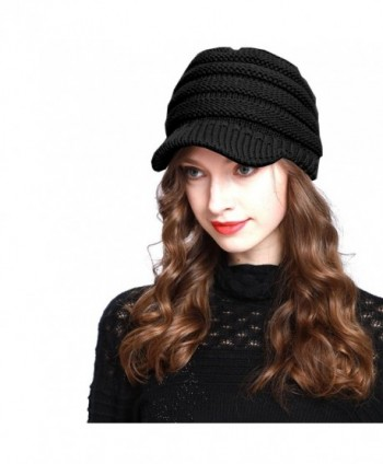 BV2311 Cable Ribbed Knit Beanie Hat w/ Visor Brim - Chunky Winter Skully Cap - Black - CD12MZFO7HO