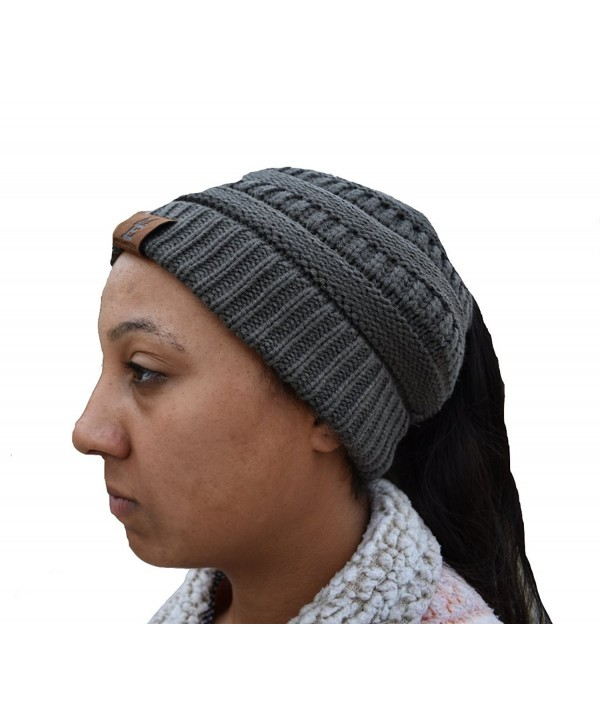 Motivated Elite Winter Women's Ponytail Beanie Solid Ribbed Hat Cap - Gray - CU189U5QSXQ