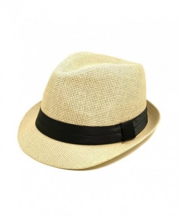 TrendsBlue Classic Natural Fedora Straw Hat with Black Color Band - CJ11076FX0B