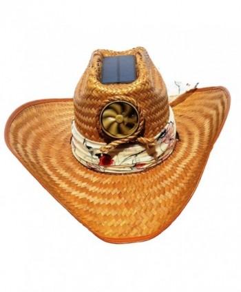 Kool Breeze Solar Hat Female Palm Leaf Cowboy Hat W. Scarf - C311QB10N1F