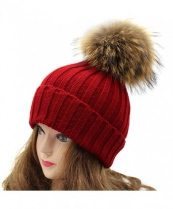 Tuscom Women Winter Crochet HatFur Wool Knit Beanie Raccoon Warm Cap - Wine Red - CZ12N75ART1