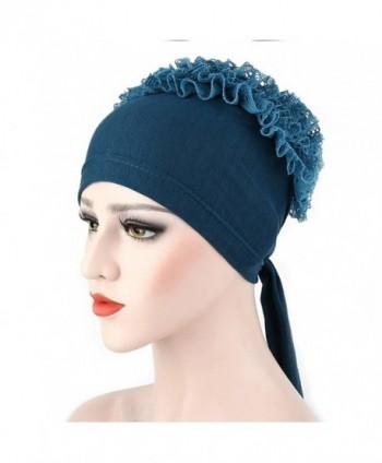 Yuxing Women Muslim Beanie Skull Flowers Chemo Cap Head Scarf - Green - CF184Z86SDL