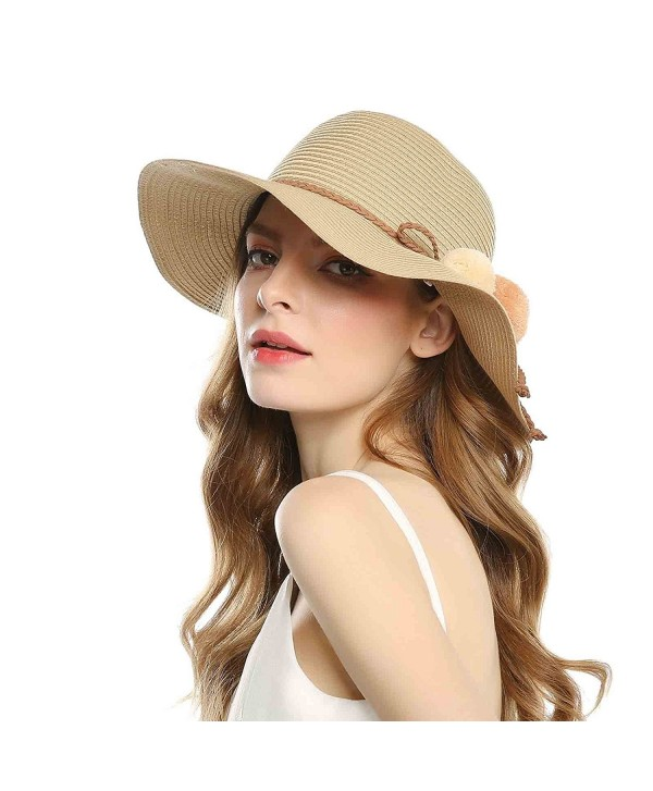 Welrog Foldable Straw Summer Hats Women Wide brimmed Hats With Balls For Travel - Brown - CM18063KCOU