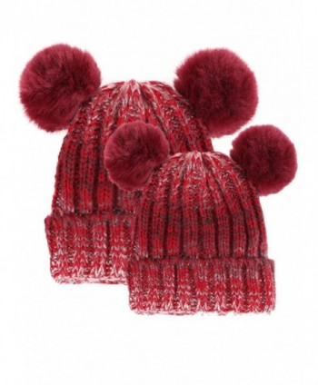Arctic Paw Adults & Children's Cable Knit Ombre Beanie with Faux Fur Pompom Ears - 2pcs-adult&kid-burgundy - C7182XMOWQX