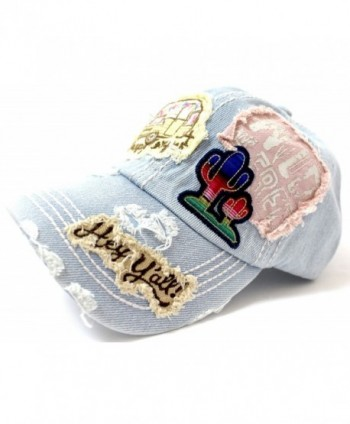 Y'ALL- HAPPY CAMPER- WILD FREE Multi-Patch Embroidered Adjustable Cap - Light Denim - CP17YZOMUH5