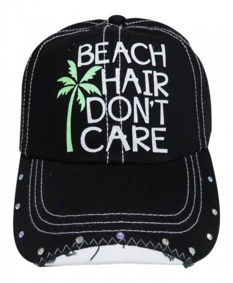 309c0ef2d White Glitter Beach Hair Don't Care Black Baseball Cap w/Rhinestones -  CG12GU4N4ZJ