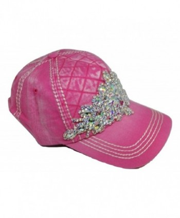 Olive & Pique Women's Diamond Iridescent Bling Quilted Baseball Cap - Pink - C612O5RCX80