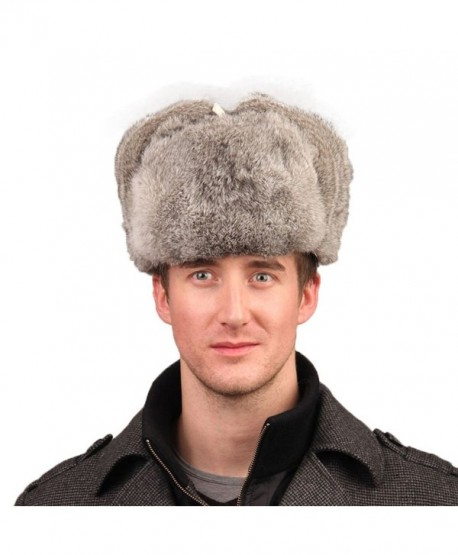 URSFUR Men's Rabbit Full Fur Russian Ushanka Trooper Hats Multicolor - Gray - CR11MBTZZU5