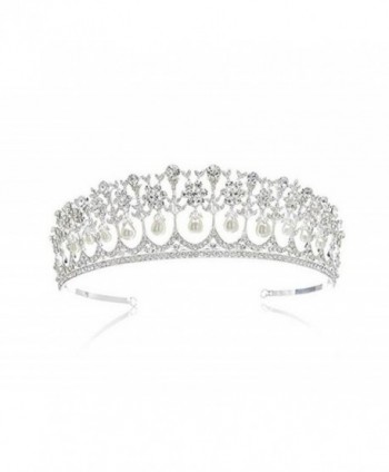 Wiipu Wedding Bridal Pearl Crown Diana Tiara Princess Hair Accessories(N431) - CL182LZ2DAA